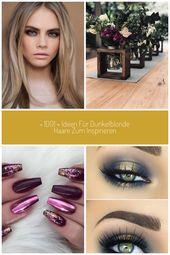 dunkelblondes Haar ein schönes glattes Haar, Mädchen mit blauen Augen und de …   – auge
