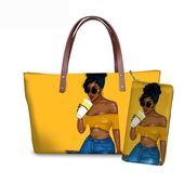 Forudesigns marke luxus design handtaschen frauen schwarze kunst afrikanische mädchen druck 2 teile / satz handtasche & brieftasche frauen top-griff taschen