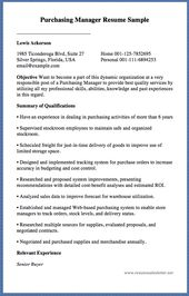 Purchasing Manager Resume Sample Lewis Ackerson  Ticonderoga