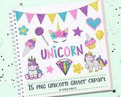 15 GLITTER Unicorn Clipart Set,  Party Clipart, Birthday Clipart, Glitter Clipart, Glitter Stickers,