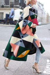 Style Geometry Printed Colourful Unfastened Woolen Lengthy Coat