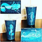 Mermaid-Seahorse Teal Glitter Tumbler   – Cups