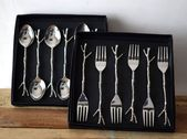 Tree Branch Silver Cutlery Set, Spoon and fork, Handmade, Stainless, Dinnerware, Dinning decor, Flatware Modern Cutlery, Set of 6