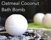 Homemade Super Easy Oatmeal Coconut Bath Bomb Recipe that uses all nature ingred…