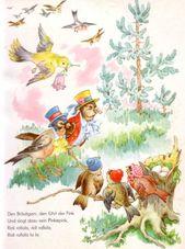 Die Vogelhochzeit – Bilderbuch Schwager u. Steinlein 50er www.eichwaelder.de – #bilderbuch #eichwaelder #schwager #steinlein