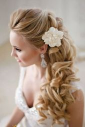 Bridal hairstyles semi-open sideways – # bride hairstyles #seitwarts #SemiOpen