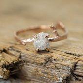 1 Carat Rough Diamond Engagement Ring, 14K Rose Gold  – ring