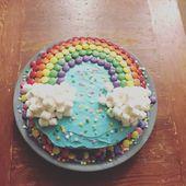 Pastel de cumpleaños arcoiris. ¡Fácil de hacer! – #imagen # pastel de cumpleaños #make #regenb …   – Kindergeburtstag