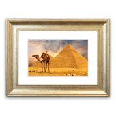 East Urban Home Framed Poster Camel in front of pyramids | Wayfair.de