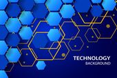 Digital technology background with hexagonal shapes.