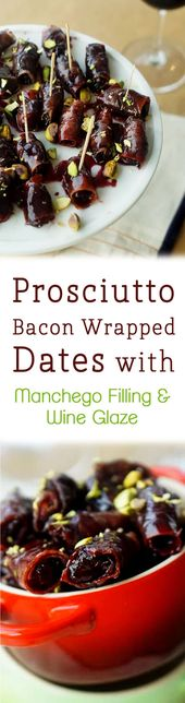 These prosciutto bacon wrapped dates with manchego filling and wine reduction ar…