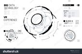 3D Futuristic HUD Technology Elements Design. Big Data, Virtual Reality, Artificial Intelligence, Hologram Screen, Science Fiction, Security System. V…