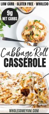 Easy Lazy Cabbage Roll Casserole Recipe – Low Carb  Easy Lazy Cabbage Roll Casse…