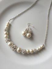 Elfenbein Perlenschmuck, Elfenbein Perlenkette, Hochzeitsschmuck für Bräute, Hochzeitsschmuck-Set, Hochzeitsschmuck für Brautjungfern, Braut   – Necklaces