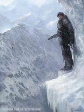 Dit is een gedigitaliseerde concept landschapstekening van de ijzige kliffen uit de Call …   – Gaming