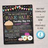EDITABLE Bake Sale Flyer, Printable PTA, PTO Flyer, School Family Fundraiser Event, Team Sports Center, Church Printable Digital Invitation