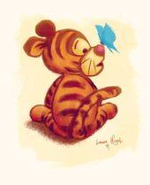 Winnie the Pooh – Baby Tigger Art Illustration Print
