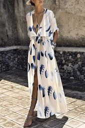 Trend Brief Sleeves Floral Print Maxi Costume