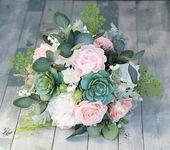 Boho Bouquet, rustikale Bouquet, Pfingstrose Bouquet, erröten Bouquet, Seide Hochzeitsstrauß, erröten Pfingstrose Bouquet, Real Touch Bouquet, rosa Bouquet   – Hochzeit