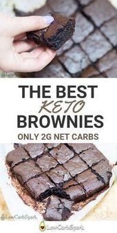 Die besten Keto Brownies aus Mandelmehl. Eine Portion enthält nur 2 g …