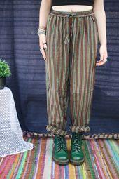 Bild der grünen Streifen-Hippie-Hose – my style