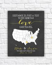 Personalized Wedding Map, Gift for Couples Art, Bridal Shower Gift, Love Travels, Long Distance Relationships, Wedding Sign | WF260
