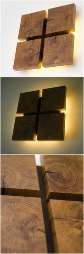 Quadratische Wandleuchte aus Eichenholz – Wandle…