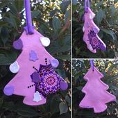 Salzteig Weihnachten Divali / Diwali – Weihnachtsbaum, Herz, Christbaumkugel geformt Ornamente – ethnische, Pinguin Flieder, Pink, Black & White – handgefertigt