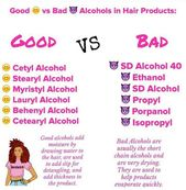 Hair care Concepts : Good vs unhealthy alcohol in hair merchandise