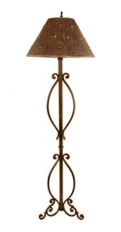 A Vintage Wrought Iron Lamp with Black Marble Base | Mold