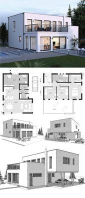 Stadtvilla Neubau modern im Bauhausstil Grundriss …