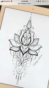 Best 7 Mandala Design Tattoo – Würde es lieben, wenn ich ein Temp auf meinem Brustbein habe -… – Blume Tattoos