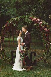 Arche ronde bois, backdrop wedding ceremony, cérémonie laïque, couleurs autom…