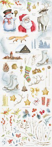 Magische Winteraquarelle. SALE von Eva-Katerina auf Creative Market #Weihnachten #Kunst #DigitalArt #Ideen #Inspiration #Aquarell