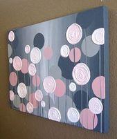 Kids Wall Art Pink and Gray Textured Flower Acrylic  – DIY und Selber Machen Deko