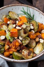 Roasted Brussels sprouts and sweet potato from the oven
