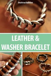 It's really easy to make this leather bracelet from leather and washer. #Jewellery