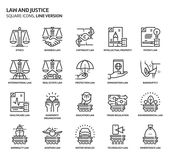 Law and justice, square icons. Icons