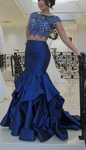 2 Piece Prom Dress, Royal Blue Prom Dress, Beaded Prom Dress, Short Sleeve Evening Dress, Lace Applique Evening Dress, Mermaid Evening Dress, Long Evening Dress