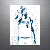 Dirk Nowitzki Dallas Mavericks Poster, Sports Art Print, Basketball Poster, Kids Decor, Man Cave
