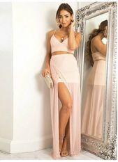 Prom Dress Pink, Long Prom Dress, Chiffon Prom Dress, Two Pieces Prom Dress,M0057  – Prom Dresses