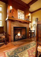 Mendota Hearth Fireplace With Brick Background Vented Gas
