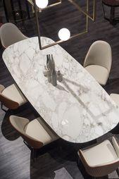 Italian Designer Contemporary Marble 6 Seat Dining Set