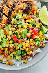 Grilled Taco Chicken Bowls with a Corn Avocado Salsa Recipe