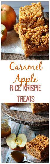 Karamell Apfel Reis Krispie Leckereien – Rezepte – #Apfel # Karamell #Krispie #Rezepte …   – rice