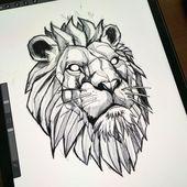 Geometrisches Löwentätowierungsdesign