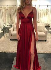 Romance Deep V-neckline Satin Long Evening Dress with High Side Slit