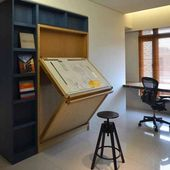 Drafting table. Interesting wall mounting table. space savers