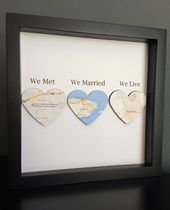 Map Heart, Paper Art in shadow box frame, We Met, We Married, We Live, Wedding Gift, Paper Anniversary, Personalized Gift