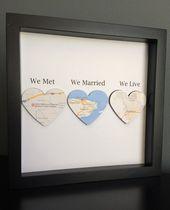 Kartenherz, Papierkunst im Schattenkastenrahmen, trafen wir uns, wir heirateten, wir leben, Hochzeitsgeschenk, Papierjubiläum, personalisiertes Geschenk   – AB